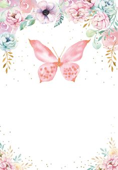 Pink glitter butterfly - Birthday Invitation Template (free) | Greetings Island