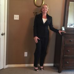 Ralph Lauren tuxedo suit Navy blue tuxedo pantsuit set with navy satin lapels and satin stripe down leg of pant. 100% wool, barely ever worn. Great condition! Ralph Lauren Other