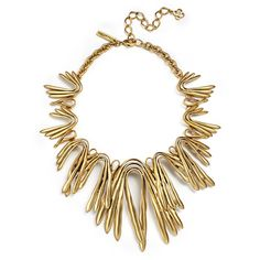 Rental Oscar de la Renta Russian Curve Necklace ($100) ❤ liked on Polyvore featuring jewelry, necklaces, gold, oscar de la renta necklace, oscar de la renta, oscar de la renta jewelry and long necklace