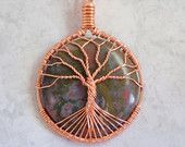 Tree of Life Pendant in Copper with Hand cut Moss Agate Cabochon