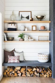 light-colored wooden shelves over a built-in concrete seat and firewood storage Decor, Home Decor Accessories, Home Living Room, Shelves, Interior, Living Room Remodel, Home Decor, House Interior, Interior Design