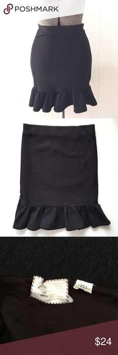 "Postmark Black Flounce Ruffle Bottom Skirt // S Adorable Anthropologie Postmark skirt. Black textured knit with bottom ruffle, trumpet style. Pull on. Lined. 98% polyester, 2% spandex. Size small. 21"" long. 14 5/8"" waist flat. Anthropologie Skirts Pencil"