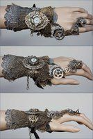 Large watch face spiked cuff by ~Pinkabsinthe on deviantART