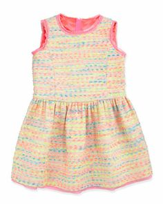 Neon Flecked Tweed Dress, Multi, Sizes 2-6  by Milly Minis at Neiman Marcus.