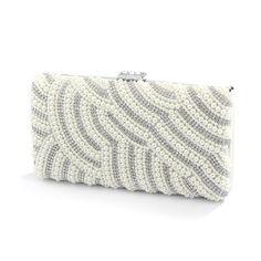 Soft Cream Pearl Bridal Evening Bag with Bezel Crystals