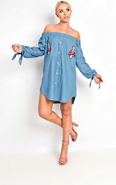 Stella Denim Embroidered Shift Dress.   dresslover.co.uk