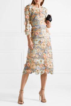 Marchesa Notte | Appliquéd metallic guipure lace midi dress | NET-A-PORTER.COM