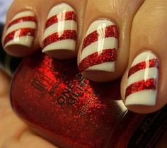 Candy Cane Nails You will need white nail polish and red nail polish with glitter. First paint your nails white- 2 coats and let dry. When nails are dry, paint diagonal stripes (about 2 on each nail) with red glitter nail polish across Nails Polish, Red Nails, Hair And Nails, Sparkly Nails, Pink Nail, Glitter Nails, Fancy Nails, Nail Nail, Do It Yourself Nails