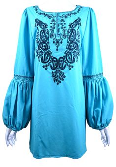 Gypsy Sleeve Tunic In Turquoise/Jade  Small-2XL  $44.95-48.95