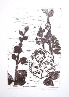 Original Linocut: Pap's Hollyhocks