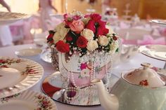 Teapot Centerpiece with Pearls on Mirror