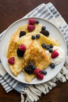 Einkorn Crepes with Fresh Berries and Creme Fraiche