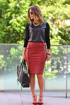 Red leather skirt, leather top