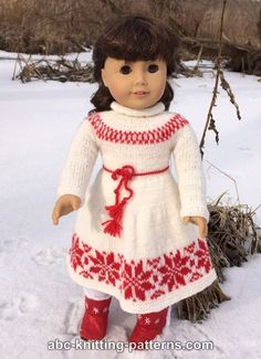 ABC Knitting Patterns - American Girl Doll Nordic Winter Dress