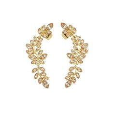 Faux Crystal Leaf Shape Ear Cuffs ($2.99) ❤ liked on Polyvore featuring jewelry, earrings, leaves earrings, crystal ear cuff, artificial jewellery, fake earrings and leaves jewelry