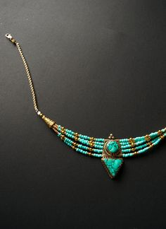Tibetan Statement Necklace Turquoise and by MoiraMackenzieDesign