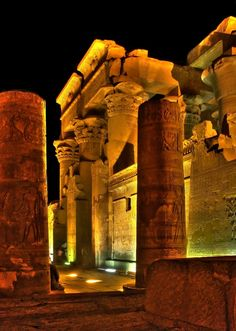 Kom Ombo Temple, by night A temple seems to have been built here in the New Kingdom, perhaps on the site of an even earlier structure, but the area did not rise to prominence until Ptolemaic times - to which period almost all the surviving monuments date.  http://gosmarttours.com.eg/en/travelerguide/tourist-attraction-sighseeing/aswan/kom-ombo-temple