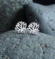 Stud Earrings Flower Girl Gift Lotus Post Earrings Flower Bridesmaid Gift Sterling Silver Lotus Jewelry Lotus Charm Lotus Earrings Lotus