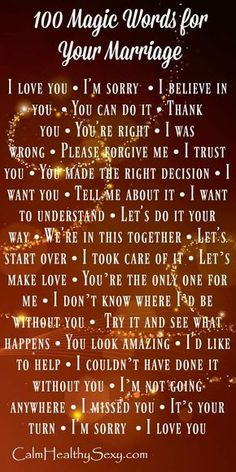 100 Magic Words for Your Marriage - Free printable Best Marriage Advice, Healthy Marriage, Save My Marriage, Marriage Life, Happy Marriage, Love And Marriage, Healthy Relationships, Relationship Advice, Broken Marriage