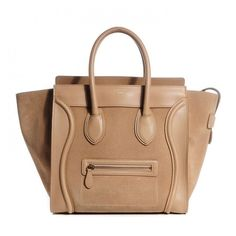 CELINE Smooth Calfskin Suede Mini Luggage Camel ❤ liked on Polyvore featuring bags and luggage