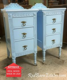 Painted Antique Nightstands - You Order. We Find, Restore, Adorn and Paint. Chalk Paint Furniture, Hand Painted Furniture, New Furniture, Furniture Refinishing, Furniture Projects, Furniture Makeover, Refinished Nightstand, White Nightstand, Nightstands
