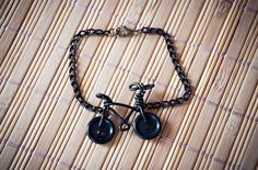 Black bracelet with bicycle handmade wire bike by SilviaWithLove, €8.90