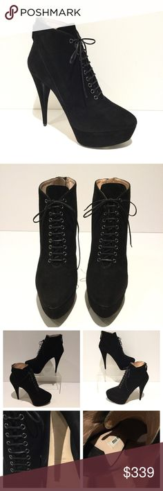 """MIU MIU ANKLE BOOTS MIU MIU SOFT SUEDE PLATFORM ANKLE BOOTS   => Black Suede Leather => Heel 5 1/2"""" => Platform 1 1/2"""" => Zip Back / Lace -up => Lining soft Leather  => Sole Leather  => Made in Italy  Smoke / Pet free environment   Note: Bottom soles have been partially refinished.             Miu Miu shoes run 1/2 smaller. MIUMIU Shoes Ankle Boots & Booties"""