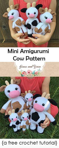 Mesmerizing Crochet an Amigurumi Rabbit Ideas. Lovely Crochet an Amigurumi Rabbit Ideas. Crochet Cow, Crochet Gratis, Crochet Amigurumi Free Patterns, Cute Crochet, Crochet Dolls, Crochet Yarn, Easy Crochet, Cow Pattern, Stuffed Animal Patterns