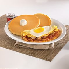 Sunny Topped Omelette Lover from Denny's available in 3 locations in Cracked Egg, I Want To Eat, Omelette, Places To Eat, Yummy Food, Foods, Dining, Breakfast, Food Food