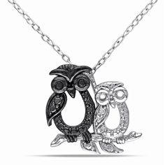 Delmar Jewelers Sterling Silver and Black Diamond Owl Fashion Pendant with Chain