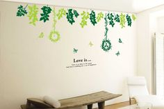 Wall Decals - YYone Downward Green Leafs Wall Sticker Living Room or Bedroom Decor -