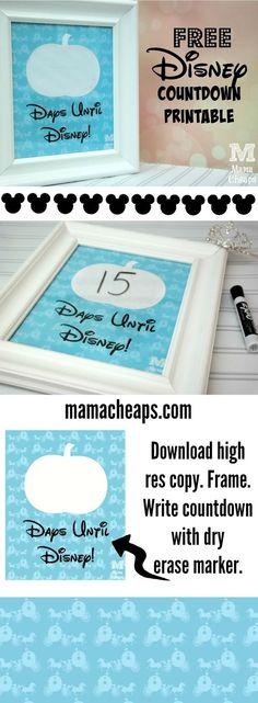 FREE Cinderella-Inspired Disney Vacation Countdown Printable Sign