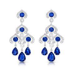 Blue Sapphire and Diamond Chandelier Earrings - Fabergé Blue Sapphire Chandelier Earrings