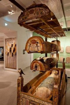 Sarcophagi display - Our Life After Death in Ancient Kemet - Gallery at Ashmolean Museum, Oxford, UK. Ashmolean Museum of Art and Archaeology in Oxford. Britain's oldest public museum. Entry is FREE Old Egypt, Egypt Art, Historical Artifacts, Ancient Artifacts, Ancient Egyptian Art, Ancient History, European History, Ancient Aliens, Ancient Greece