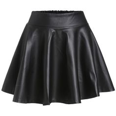 Black Faux Leather Elastic Waist Flare Skirt ❤ liked on Polyvore featuring skirts, skater skirt, flared skirt, stretch waist skirt, vegan leather skirt and elastic waist circle skirt