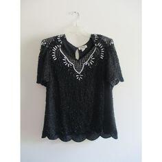 Vintage Mark & John by Gopal Black Silver Sequin Silk Blouse Top Shirt Sz Large