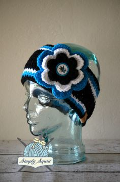 READY TO SHIP - Adult San Jose Sharks Inspired Flower Earwarmer Headband with Bottlecap Logo Center - Hockey by SimplySquid on Etsy