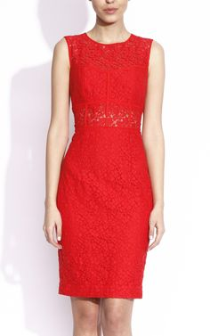 Red lace cocktail dress.