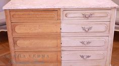 What a stunning before and after. Look at the original color of this dresser on…