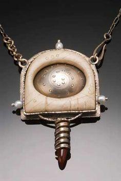 Spiral Plum pendant by Robert Dancik - Sterling, Faux Bone