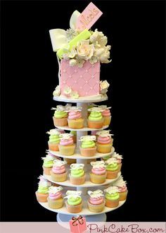 Bridal Shower Gift Box  Cake sits on this cupcake tower of pink & green frosted cupcakes embellished with white bow