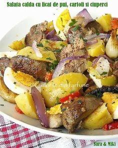 Salata calda cu ficat de pui, cartofi si ciuperci Healthy Salad Recipes, Diet Recipes, Cooking Recipes, Romanian Food, Artisan Food, Health Dinner, Healthy Cooking, Food And Drink, Easy Meals