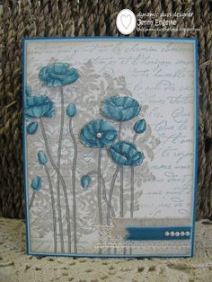 Stamps: Pleasant Poppies, Medallion, French Script  Paper: Island Indigo, Pool Party, Very Vanilla, Watercolor  Ink: Pool Party, Sahara Sand, Stazon Black, Island Indigo  Accessories: Champagne Shimmer spray, Crochet Trim, Natural Trim, Ribbon Originals ribbon pack, pearls, Blender Pen
