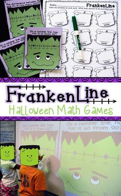 Halloween number line math activities for 1st and 2nd grade. Includes 8 Halloween math games with 6 using a number line. Project them on your SMARTBoard for partner work or use them in stations or centers. We use these for a standards based Halloween math party and let kids trick-or-treat at the table when they finish!