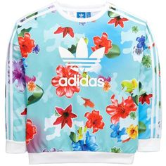 Adidas Originals Adidas Originals Older Girls Floral Sweat Top ($42) ❤ liked on Polyvore featuring tops, hoodies, sweatshirts, adidas originals, polyester sweatshirt, floral print tops, blue top and floral tops