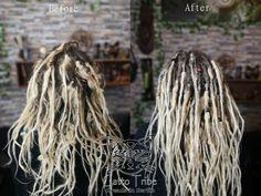 Ivonne hatte sich ihre Dreads im Afroshop erstellen lassen. Durch die Haargummis haben sich am Ansatz schlaufen gebildet. In ca 16 Stunden wurden ihre Dreads komplett überarbeitet. Die Gummis gelöst, die Extensions aufgetrennt und die eigenen Haaransätze sowie Extensions gerade gehäkelt und anschließend zusammen gefilzt.    #gatto_tribe #dreadpflege #dreadsberlin #dreadlock #dreadlocks #dreads #dreadhead Afro, Dreadlocks, Hair Ideas, Extensions, Berlin, Hairstyles, Beauty, Haircuts, Hairdos
