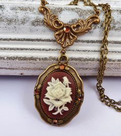 Elegant necklace in bronze brown with roses cameo, cameo necklace, antique necklace, baroque necklace, cameo jewelry, Rococo Necklace - pinned by pin4etsy.com