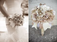 DIY BRIDAL BOUQUET WITH BURLAP FLOWERS | ... – pearl – lace – feather – brooch Bridal Wedding Bouquets
