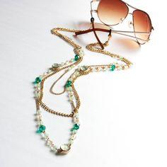 Gold Chain Ocean Green Gems Sunglass Chain