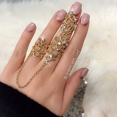 'Caterina' Gold Lace Double Finger Chain Ring